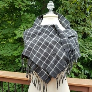 Christian Dior Cashmere Scarf Grey & White plaid